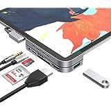 MoKo USB C Hub Adapter for iPad Pro 3rd Generation 2018, 6 in 1 iPad Pro Docking Station Type-C Dongle -USB 3.0, 4K HDMI, 3.5