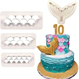 4Pcs/Set Mermaid Tail Silicone Fondant Mold & Scale Fondant Cutter, Fish Scales Pattern Geometric Embossing Biscuit Cookie Cu