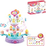 wodtoizi Ice Cream Cupcake Candy Toy Playset Rotating Food Plate Pretend Play Food Desserts Colorful Lights Wonderful Music B