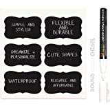 MFLABEL 36pcs Reusable Chalkboard Labels with Erasable White Smooth Liquid Chalk Marker - Premium Stickers for Jars