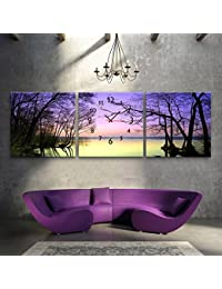 E-HOME 風景画紫色の光の下の湖の景色時計でキャンバス3ピース壁時計 アート油絵 壁時計 芸術と油絵 装飾の絵画壁時計 置き時計 掛け時計 壁掛け キャンバスの鐘 (60x60cmx3pc)