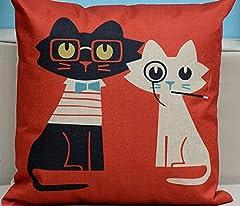 クッション カバー ネコ アンティーク 北欧 ファブリック かわいい CAT 猫 8種類 選択 45 × 45 (NO8)