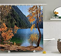 (180cm W By 190cm L, Multi 5) - Farm House Decor Shower Curtain Set by Ambesonne, Autumn Season by Lake and Mountain Asian Nature Theme Fall Trees in the Wilderness, Bathroom Accessories, 190cm Long, Orange Green