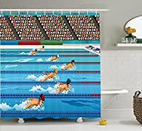 (180cm W By 190cm L, Multi 8) - Olympics Decorations Shower Curtain Set by Ambesonne, Illustration of Swimmers During Swimming Competition Sports Theme Cartoon Art, Bathroom Accessories, 190cm Long, Aqua Sand Brown