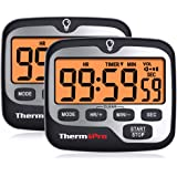 ThermoPro TM01 (2 pack) Digital Kitchen Timer with Touchable Backlit and Count up Countdown Timer Loud Ring Magnetic Classroo