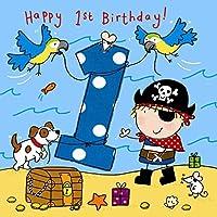 海賊、犬とオウムを持つ少年のためのTwizler第1誕生日カード - 1歳 - 1歳 - 子供の誕生日カード - 男の子の誕生日カード - お誕生日おめでとうカード