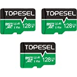 TOPESEL 128GB Micro SD Card 3 Pack Memory Cards A1 V30 U3 Class 10 Micro SDXC UHS-I TF Card for Cemera/Drone/Dash Cam(3 Pack