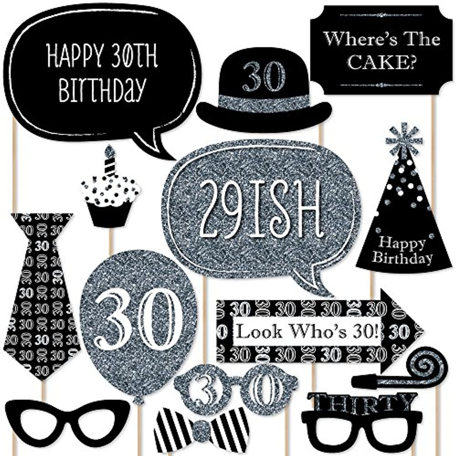 Adult 30th Birthday - Silver - Photo Booth Props Kit - 20 Count