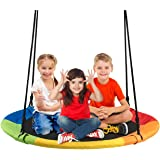 Costzon 40'' Flying Saucer Tree Swing, Safe and Sturdy Swing for Children W/ Easy Assembly, Adjustable Ropes, Ideal for Park