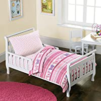 Dream Factory Butterfly Dots 4-Piece Toddler Mini Bed in a Bag Bedding Set