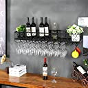 JJJJD ヨーロッパ吊りワインラックゴブレットラッククリエイティブ上下逆ワイングラスラックレストランバー鍛鉄ラック壁ワイン掛けラック (色 : ブラック, サイズ さいず : 30 25cm)