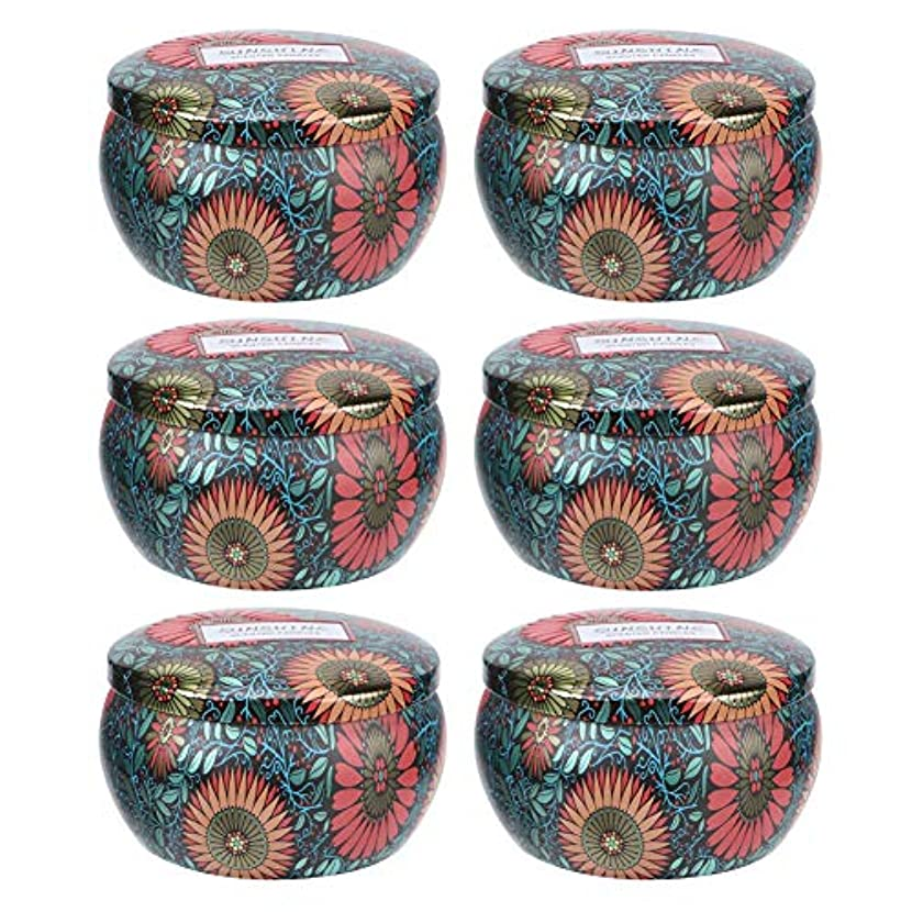 銀行留まるがんばり続ける香りのキャンドル、6個の大豆ワックスアロマセラピー香りのキャンドルストレスリリーフポータブルキャンドルセットクリスマスデコレーションギフト