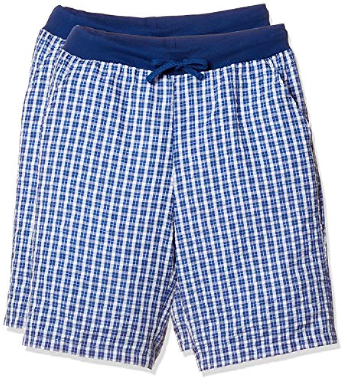 [イヤシ](癒足)紳士楽々パンツ2枚セット 涼感シアサッカー生地 ポケット付き ウエスト調節可能なヒモ付き メンズ