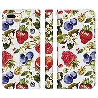 Ruuu iPhone7Plus iPhone8Plus 兼用 手帳型 スマホ ケース カバー 水彩 フルーツ ボタニカル いちご ブルーベリー 苺 くだもの 果実 柄 模様 花 はな 可愛い かわいい おしゃれ ユニーク 個性的 レディース ギフト グッズ