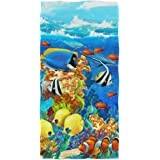 """Naanle Cute Soft Luxuriant Print Towels Large Guest Hand Towel Multipurpose for Bathroom, Hotel, Gym and Spa (16"""" x 30"""",Flora"""