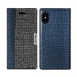 iPhone X手帳型ケース Dreamplus Wannabe Leather Diary iphonex iPhoneX 【ネイビー】 ダイアリケース 5.8インチ 本革 カード収納 ラインストーン 手帳型 アイフォン 牛革 DP-iX-WB02