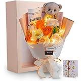 光る LED ライト 付き ソープフラワー 花束 バラ 造花 可愛いくま 母の日 誕生日 お祝い