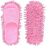 Milky House Microfiber Slippers Floor Cleaning Mop Men and Women House Dusting Slippers Floor Cleaning Tool (Pink, Women 7-10