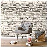 HAOKHOME 13991 石のレンガの壁のステッカー 壁紙 防水 ライトグレー 45cmx6m 貼ってはがせる かんたんタイル 貼付シールタイプ 家の装飾