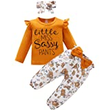 SANMIO Cute Floral Girl Clothes Outfits, Toddler Baby girl Clothes Set Ruffle T-Shirt + Pant Set with Headband, Long Sleeve-d
