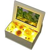 サウンドアレンジ 光る フォトフレーム (イエロー) フラワーボックス プリザーブドフラワー 写真立て LED