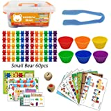 Riiai 8 in 1 Rainbow Game Counting Bears Toys Education Number Learning Sorting Toy Ludo, Snake and Ladder, Sudoku and More f