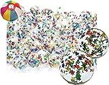スーパーボール キラキラ ラメスター (27mm) 100個入  / お楽しみグッズ(紙風船)付きセット [おもちゃ&ホビー]