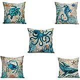 Ecomic Ocean Octopus Sea Turtle Dolphin Starfish Turquoisen Throw Pillow Case Animal Decorative Cotton Linen Cushion Cover 18