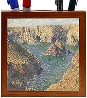 Rikki Knight Claude Monet Art Port Donnant Design 5-Inch Wooden Tile Pen Holder (RK-PH3572) [並行輸入品]