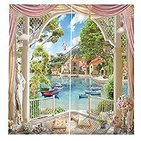 PETSOLA 窓カーテン 中国瞑想スタイル グロメット 窓カーテン パネル 部屋飾り 遮光カーテン - バルコニー