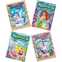 Cleverホームのセット4 Unicorns and Mermaids Coloring Books For Children – 96ページにカラー