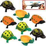 Turtle ToysSea Ocean Animal 5 Inch Rubber Tortoise Turtle Sets(8 Pack)Great Safety Material TPR Super StretchyCan Hide In She
