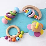 Promise Babe 4pc Organic Toddler Wooden Toys Wood Montessori Baby Rattle Intellectual Toddler Grasping Teething Toy Natural T
