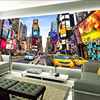 Xueshao 3D写真の壁紙タイムズスクエアニューヨークモダンストリートビューショップバーベッドルームリビングルームのテーマの壁紙3Dステレオ壁画-200X140Cm