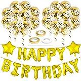 Happy Birthdayバルーン パーティーデコレーション – ゴールドバースデーデコレーションパーティー用品セット すべての年齢向け ハッピーバースデーバナーホイル文字バルーン スターバルーン リボン 紙吹雪バルーン