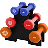 Hacienda Cast-Iron core and Neoprene 7-Piece 15kg Weighted Dumbbell Set, Free Hand Weight Dumbbell Sets with Rack