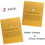 QXFQJT Sun Compass Necklace Friendship Anchor Horseshoe Deathly Hallow Pendant Chain Necklace with Meaning Cards