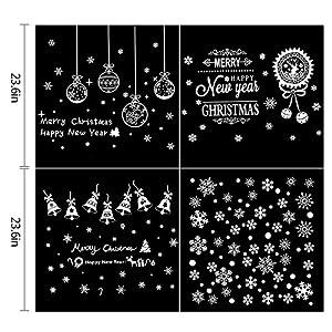coohom 200+ pcsクリスマスウィンドウステンシルステッカーのセット4DIY Window Clingシート–リムーバブルスノーフレークベルデカールウィンドウミラーガラスドア車ボディHolidayクリスマスデコレーション