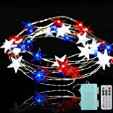 BOHON Independence Day Decor LED String Lights Battery Operated with Remote 10 ft 40 LEDs USA American Stars Flag Lighting St
