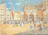 ¥5K-200k 手書き-キャンバスの油絵 - 美術大学の先生直筆 - St Marks post印象派 Maurice Prendergast ヴェネツィア 絵画 洋画 複製画 -サイズ03