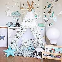 fessyc @新しい小さなパンダデザインインドティーピー子供のゲームテントインドアプリンセスドールハウス家インド木製キャンバステント