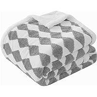 KAWAHOME 二枚合わせ 毛布 ひざ掛け 70ⅹ100cm 発熱 掛け毛布 暖かい 裏ボア ふわふわ 柔らかく肌触り…