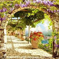 csfoto 8x 8ftでアーチのバックグラウンドVilla Sunny Garden写真バックドロップGrape TrellisレトロアーキテクチャTop View Flower leisurely休日リラックスフォトスタジオ小道具観光ビニール壁紙
