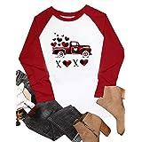 YOYOF Valentines Day Tshirt for Women Buffalo Plaid XOXO Truck Graphic Print Raglan 3/4 Sleeve Baseball Tee Tops