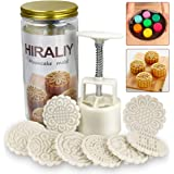 HIRALIY Mooncake Mold Set 8 Stamps with Storage Box, Mid-Autumn Festival Hand Press DIY Moon Cake Maker Cookie Stamps Pastry