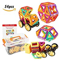 FUNTOK Magnetic Building Block Set Magnet Toys 3D DIY Construction Stacking Tiles For Kids Creative Learning Education 54Pcs 【You&Me】 [並行輸入品]