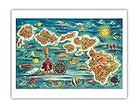 ハワイ諸島のドール地図 - ハワイアン・パイナップル・カンパニーから - ビンテージカラーの地図製作のマップ によって作成された ジョセフ・フェーヘル 1022 - アートポスター - 51cm x 66cm