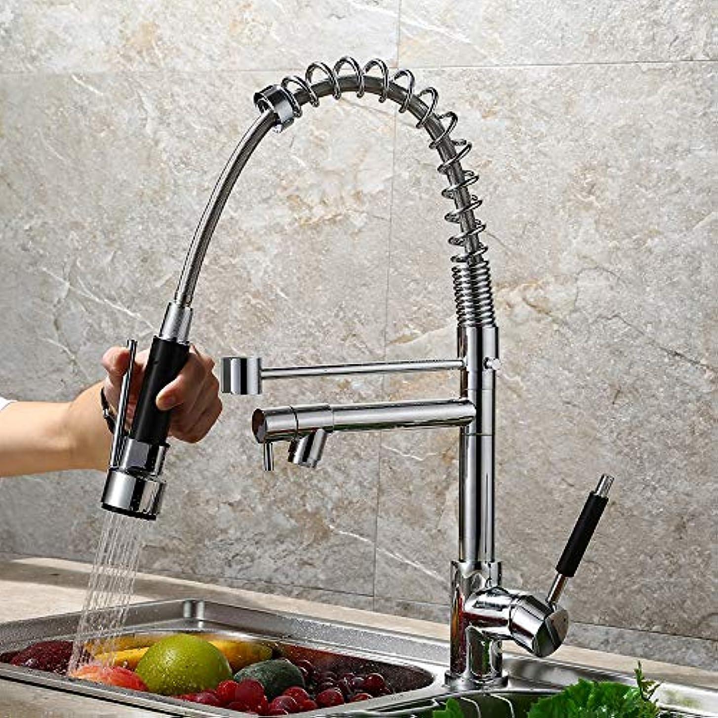 ローストバイバイ溶けた兼用縦型シンク/洗面台用蛇口、バスルーム/キッチン用洗練された銅、起毛スプリング/回転式/ホット/コールド 作りが精巧である