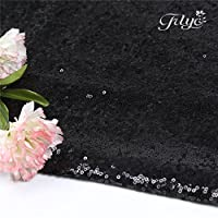 (50cm x 50cm, Black) - TRLYC Pack 5 50cm x 50cm Black Sequins Napkins - for Wedding Party Restaurant Holiday Dinner