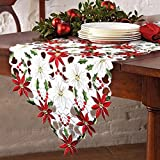 PartyTalk Christmas Embroidered Table Runner, Luxury Holly Poinsettia Table Runner for Christmas Decorations, 15 x 70 Inch